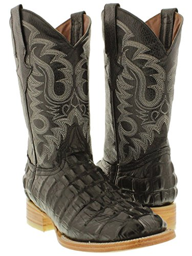 Team West - Men's Black Crocodile Tail Design Leather Cowboy Boots Square 10 E US