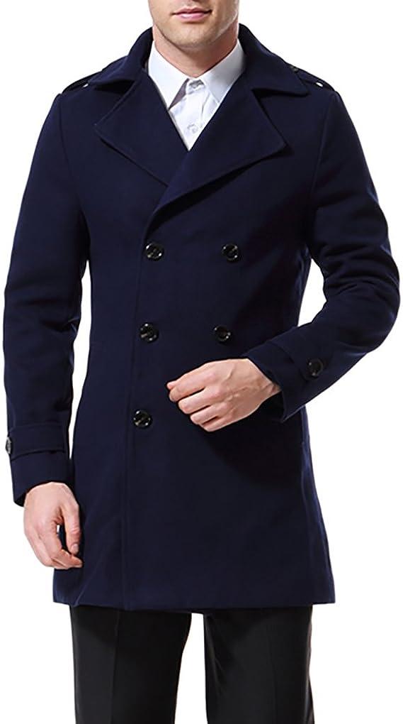 TALLA S. AOWOFS Abrigo de hombre doble botonadura gabardina clásica abrigo cálido guisante abrigo inteligente