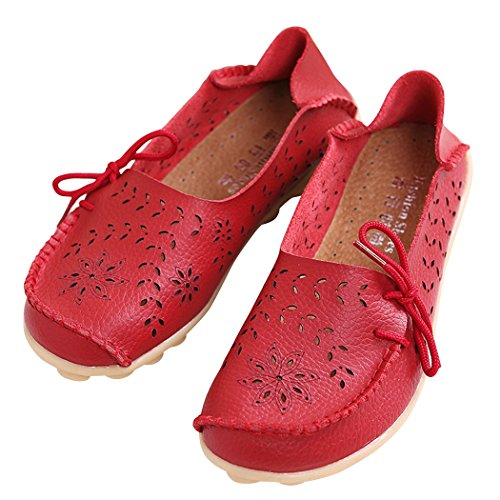 Serene Womens Leather Cowhide Hollow Out Casual Flat Driving Shoes Boat Loafers (8 B(M)US, Red)