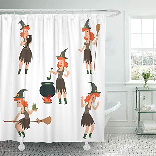 Emvency Decorative Shower Curtain Cartoon Images Funny Witches