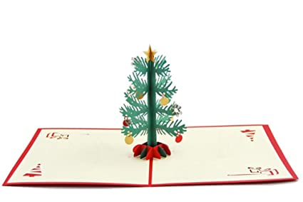 Amazon.com : IShareCards 3D Pop Up Christmas Tree Greeting Cards ...