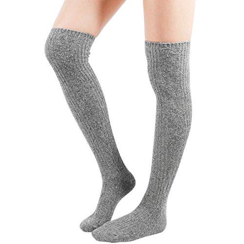 WowFoot Girls Over-The-Knee Thigh High Socks Womens Leg warmer Knit Winter Leggings (E-Gray)
