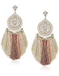 Womens Multi Tassel Filigree Drop Earrings, Rose Gold Tone, One Size