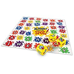 Introduce kids to letters, sounds, alphabet order, and print concepts with 8 fun games. Includes vinyl mat, 5 inflatable illustrated cubes, game markers, and activity guide.