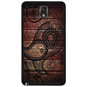 Black Paisley Print on Wood Background Hard Snap on Phone Case (Note 3 III)