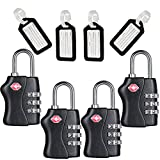 TSA Travel Locks Security 3 Digit Combination Suitcase Luggage Bag Code Lock Padlock 4 Pack Locks With 4 Luggage Tag