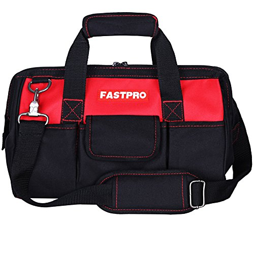 FASTPRO 14-Inch Zip-top Wide Mouth Open Storage Tool Bag, Classic Black&Red Design, Fashionable Design, 600D Polyester Fabric Material for Quality Endurance, With Adjustable Shoulder Strap by FASTPRO