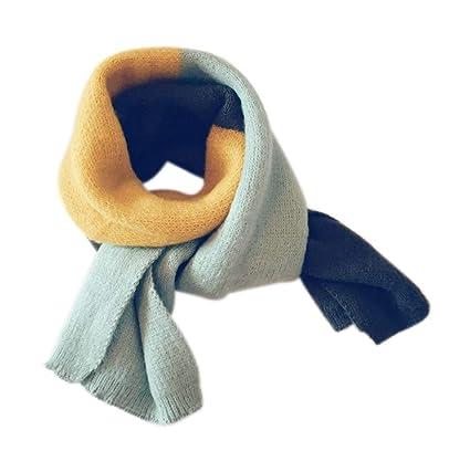 602db17c9c2f Demarkt 1pcs Foulard pour Enfants Écharpe en Tricot Écharpe Chaude Automne  et Hiver Écharpe Tricolore Bleu