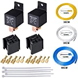 FOSHIO Automotive Light Car Modification Switch Relay 80AMP DC12V SPDT 5-PINS with Socket, Necessary Terminals, US Standard Wire Harness and Wire Zip ties
