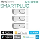 iHome iSP8 Smart Plug Bundle , Wi-Fi, Includes Remote Control, Works Seamlessly with all Alexa Products, includes hand held remote (3 Pack)