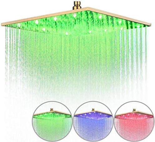 Dmygo Funci/ón Multi Ducha Ducha Ba/ño Superior Cuadrada Spray 8//10//12//16 Pulgadas LED ba/ñados en Oro Cabezal de Ducha Color : 8inch Led