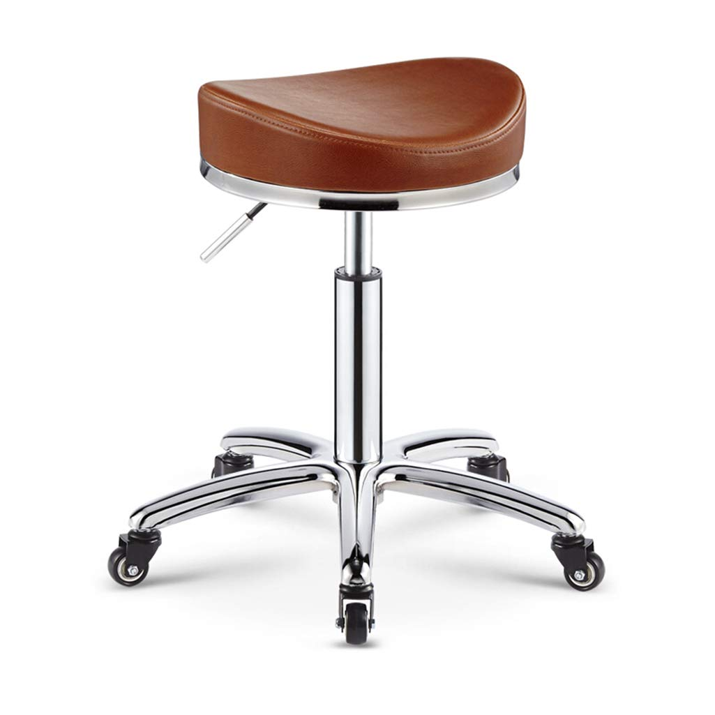 Brown Salon Stool Bar Swivel Chair Manicure Tattoo Spa Chair Height Adjustable Barstools Faux PU Leather Hydraulic Gas Lift,Brown
