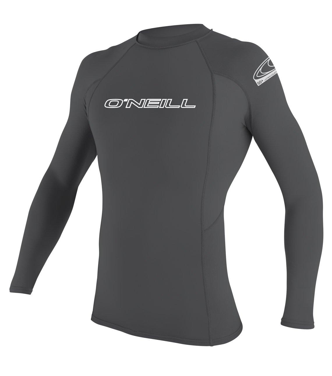 O'Neill Men's Basic Skins UPF 50+ Long Sleeve Rash Guard, Smoke, Small