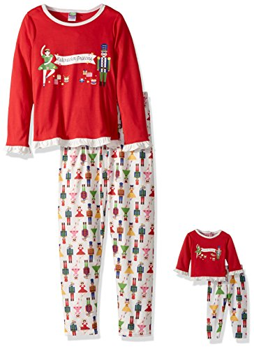 Dollie & Me Big Girls' Christmas Snugfit Sleep Set, Red/W...