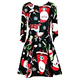 iHENGH Women's Casual Retro Long Sleeve Vintage Christmas Printed Cocktail Dress(Red,S)