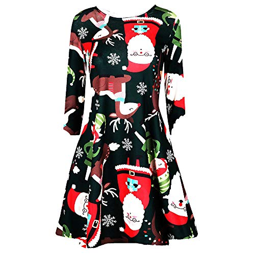 SSYongxia Christmas Print Casual Swing Dress Long Sleeve Round Neck Pleated Skirt Party Midi Dress