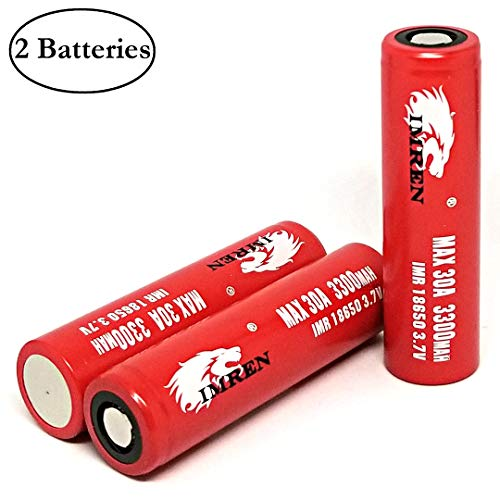 2 Pcs IMREN 3300mAh 30A Flat Top Battery with 1 Battery Case, 3.7V Rechargeable High Drain for Electric Tools, Toys, LED Flashlights, Torch, and Etc