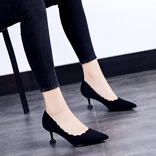 à avec Singles Black ligne Chaussures printemps GAOLIM pointe en 6cm du hauts la Chaussures Chaussures talons Femme Noir Femme TzqwRI