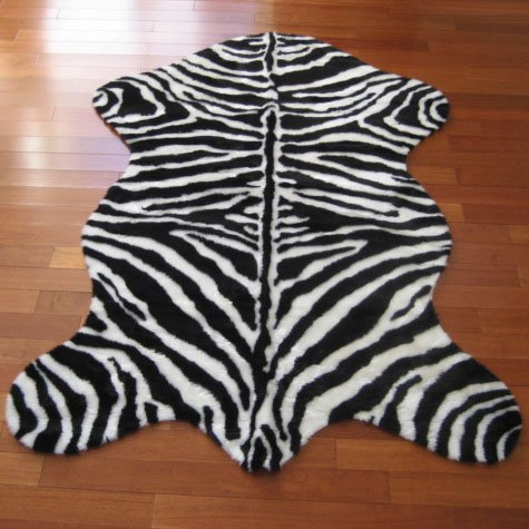 (Walk on Me Faux Fur Rug- Zebra Skin Rug - Narrow Stripe, Pelt Shape - Made in France (2x4 (Actual 28