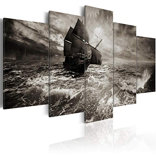 Canvas Print Art Ship in Storm Wall Decor Modern Sailboat Painting Sailing Sea Picture 5 Panels Home Decoration for Bedroom Read to Hang (F21, Small W40
