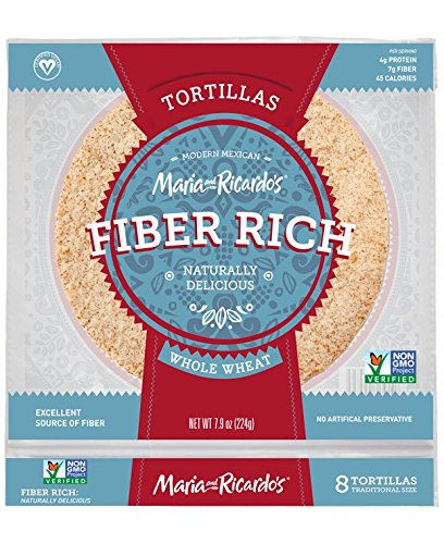 Low Carb Tortillas, 3 Net Carbs, Non-GMO Project Verified, Maria and Ricardo's Fiber Rich Whole Wheat Tortillas, Certified Vegan, Keto-Friendly, 7.9 oz. (1 Pack)