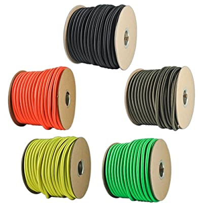 """Paracord Planet 1/4"""" Elastic Cord Crafting Stretch String with Various Colors - Choose from 10, 25, 50, and 100 Feet, Made in USA"""