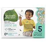 Seventh Generation Free and Clear Sensitive Skin Baby Diapers with Animal Prints, Size 5, 23 Count, (Pack of 4)