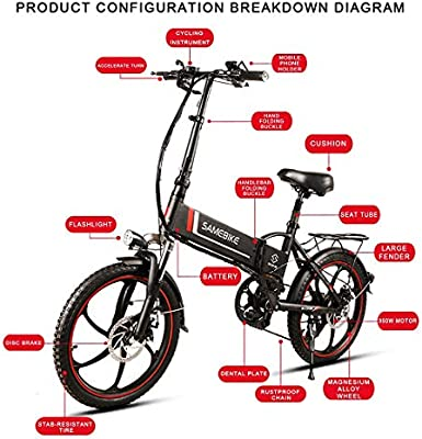 Samebike bicicleta eléctrica portátil plegable de aluminio de 20 ...