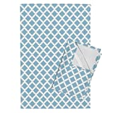Roostery Geometric Tea Towels Aztec Diamond Spa Blue by Greysquaredesigns Set of 2 Linen Cotton Tea Towels