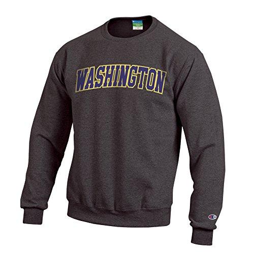 Basketball Mens Husky - Champion NCAA Washington Huskies Men's Eco Powerblend Crew Neck Sweat Shirt, Small, Granite Heather