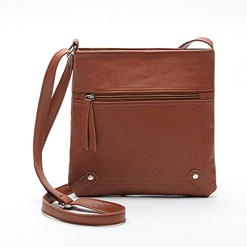 Women Messenger Bag PU Leather Crossbody Satchel Shoulder Handbag - 8