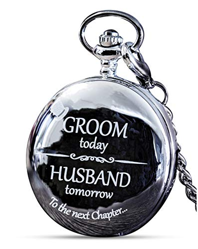 Groom Gifts from Bride - Engraved Groom Pocket Watch - The Luxury Wedding Gift Choice