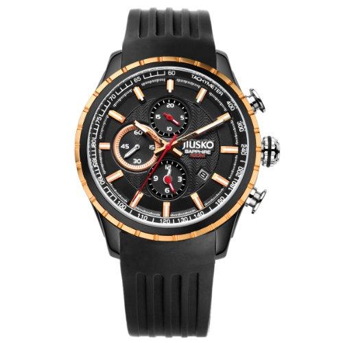 jiusko-mens-analog-quartz-tachymeter-chronograph-sport-wrist-watch-sapphire-100m-rosegold-accent-bla