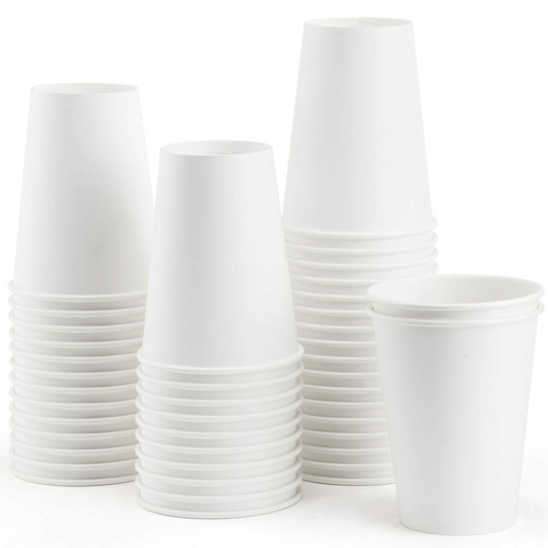 Eupako 12 oz Disposable White Paper Cups 120 Pack, Coffee Cups, Drink Hot Cups