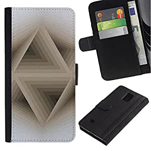 iBinBang / Flip Funda de Cuero Case Cover - 3D Abstract Beige White Pattern - Samsung Galaxy Note 4 SM-N910