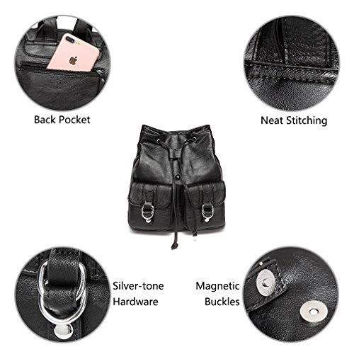 Leather Buckle College VASCHY Mini nbsp;Drawstring black Purse Front Pockets Fashion for Two Backpack Faux Backpack for Women with Flap w017Ywqp