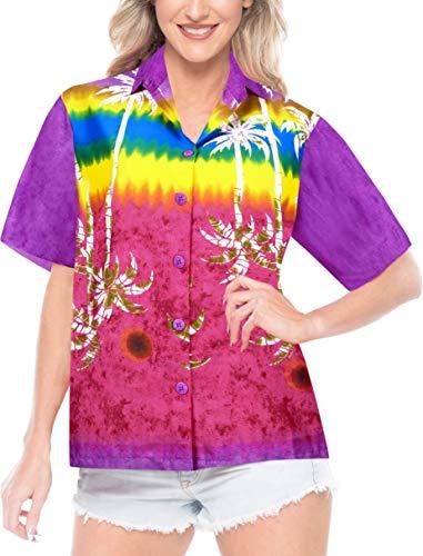 LA LEELA Likre Camp Aloha Beach Top Shirt Violet 379|XXL - US 44 - 48C