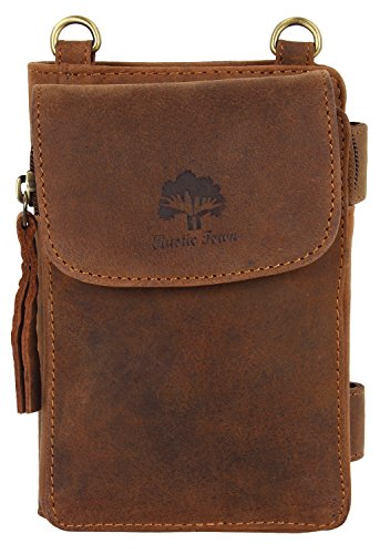 Vintage Style Travel Wallet Leather Pouch Crossbody Bag with Detachable Strap Rustic ()