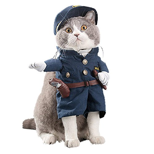 Hotumn Pet Policeman Costumes Pet Cop Apparel Dog and Cat Uniform for Costume Party and Halloween Suit (S) -