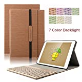 Dingrich Trifold Slim PU Leather Cover with Detachable Magnetic Aluminum Bluetooth Keyboard for iPad Pro 9.7 Bundle with Screen Protector and Stylus - Brown