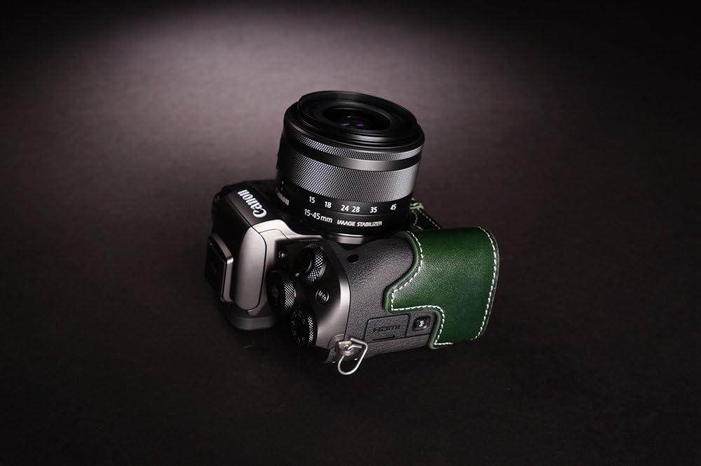 BolinUS Handmade Genuine Real Leather Half Camera Case Bag Cover for Canon EOS M5 Black EOS M5 Case Hand Strap