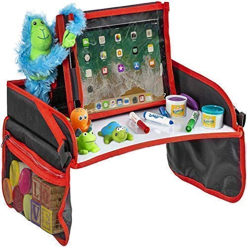 Kids Travel Tray - Sturdy Dry Erase Top with Detachable Tablet ipad Holder - Child Play and Snack Lap Tray Table - Toddler Activities for Car Seat, Stroller, and Plane by Practico Kids