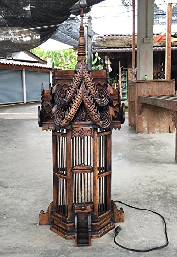 Large Half Spirit House Lamp, Thai Buddhist Wood Carving for Spiritual Haunted Spirit House Temple, Products From Thailand by WADSUWAN SHOP