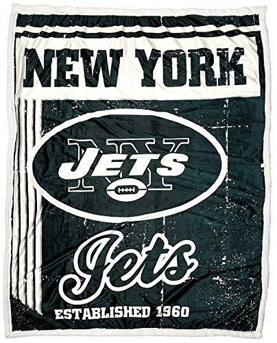 The Northwest Company Officially Licensed NFL New York Jets Old School Mink Sherpa Throw Blanket, 50