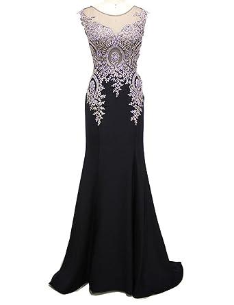 Mulanbridal Gold Lace Mermaid Evening Dress For Women Formal Long Prom Dresses Black 2