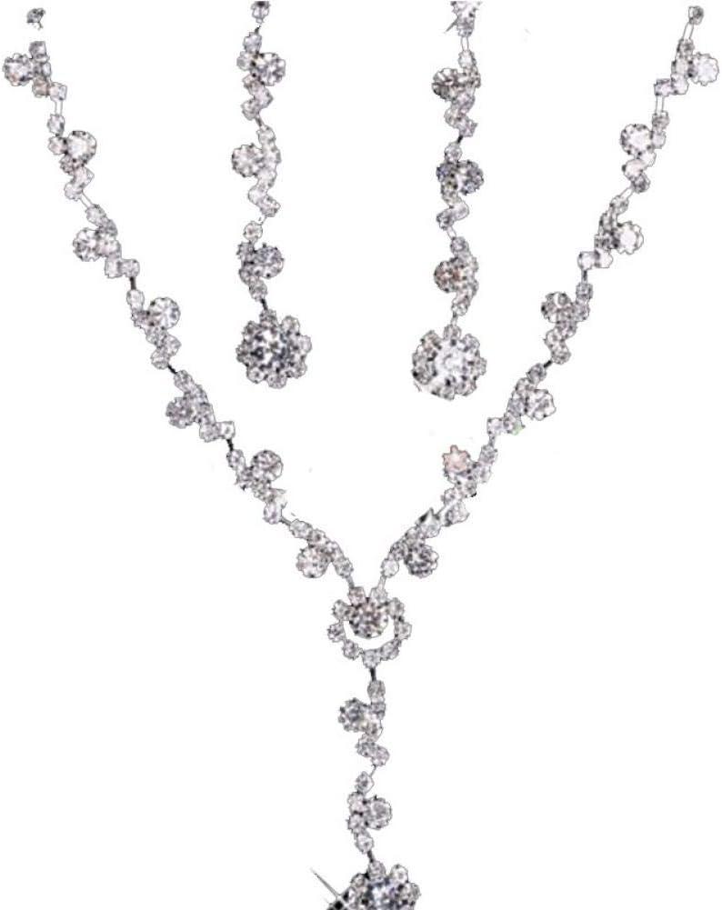 NEGJSDFG Collar Hermosas Señoras Collar De Cristal, Boutique De Cristal De Cadena Pequeña Accesorios De Novia Collar Pendientes, Exquisito Collar De Cristal