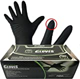 Throttle Muscle TM6454 - Muscle Gloves Industrial Powder Free Black Nitrile Work Gloves 6 Mil Textured Finger and Palm, Box of 100 (Large)