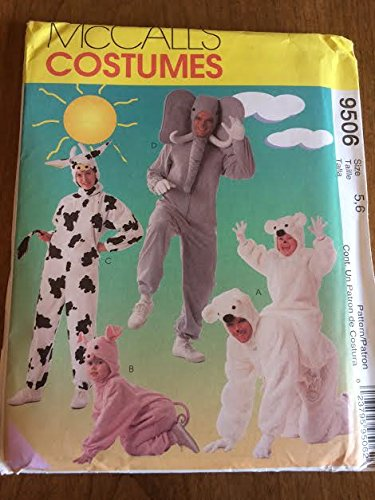 McCall's 9506 Sewing Pattern, Kids' Animal Costumes - Jumpsuit with Headpiece, Size 5,6