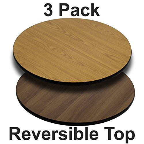 (Flash Furniture 3 Pk. 30'' Round Table Top with Natural or Walnut Reversible Laminate Top)