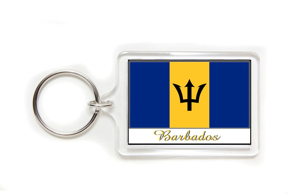 Souvenir Barbados Flag Double Sided Acrylic Key Ring Large